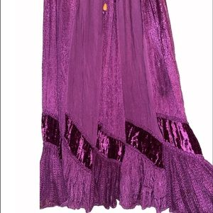 BHAG'S Skirts - BHAGS Boho Purple Velvet & Stitched Maxi Skirt
